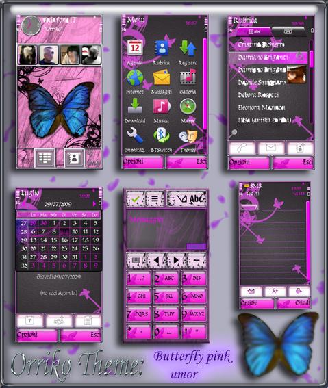 Темы для Nokia 5800 Nokia N97 Nokia 5530: Pink Butterfly by Orriko