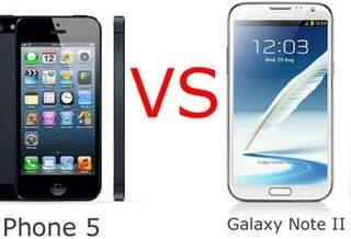 Сравнение смартфонов Samsung Galaxy Note 2 и Apple iPhone 5